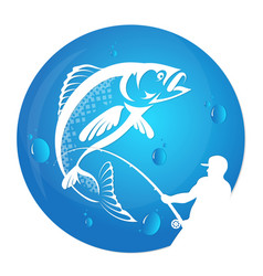 fisherman draws fish silhouette vector image
