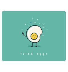 flat fried egg character breakfast food icon vector image