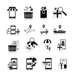 M-commerce black white icons set vector