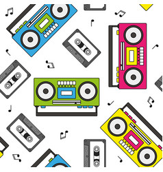 retro cassette and radio recorder seamless pattern vector image