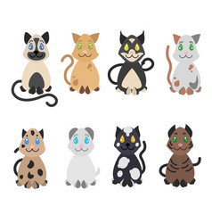 Sketch funny cute sitting cats collection vector