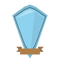 blue shield diamond with brown ribbon vector image vector image