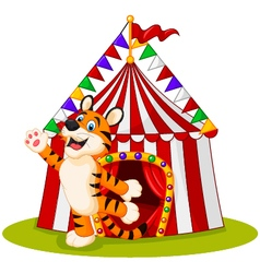 Happy tiger animal with circus tent vector