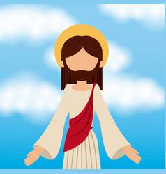 Jesus christ ascension sky background vector