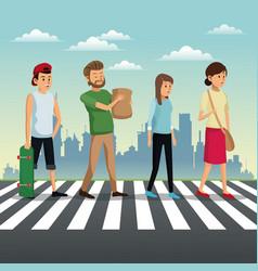 people crossing street urban background vector image