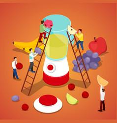 people making fresh juice healthy eating vector image