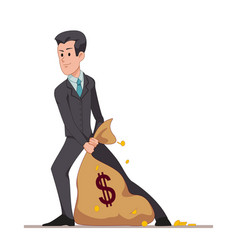 businessman or manager drags a bag full of money vector image vector image