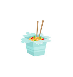 chinese japanese noodle in box with chopsticks vector image vector image
