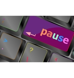 Computer keyboard with pause key - business vector image vector image