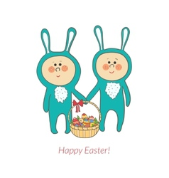 cute bunnies with a basket in hand with eggs vector image