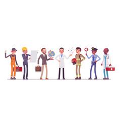 men professions set vector image