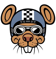 mouse head rider mascot vector image vector image