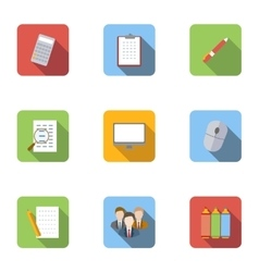 Staffing agency icons set flat style vector image