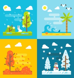 4 seasons park flat design set vecor vector