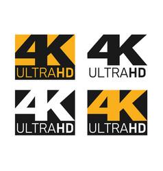 4k ultra hd icons set uhd screen resolution vector