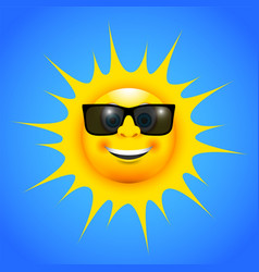 a happy smiling sun with sun glasses vector image