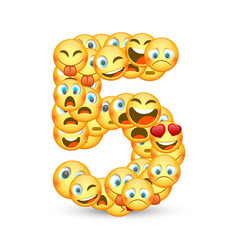 A set of emoticons shaped as five number vector