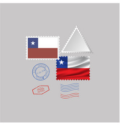 A set stamps with image flag chile vector
