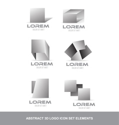 Abstract 3d logo icon set elements vector