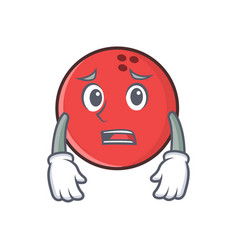 Afraid bowling ball character cartoon vector