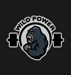 Angry gorilla sports gym logo vector