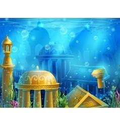 Atlantis seamless submerged underwater city vector