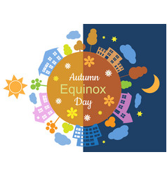 Autumn equinox day and night vector