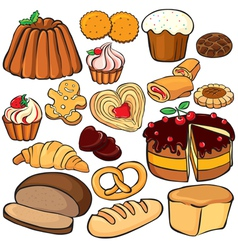 Baking and sweets icon set vector