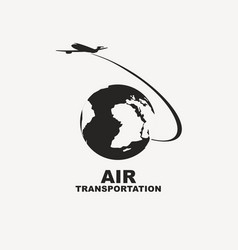 Banner for air transportation with planet earth vector