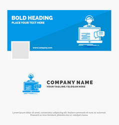 blue business logo template for support chat vector image