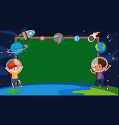 Border template with boys in space vector
