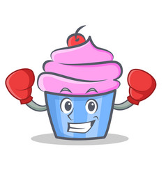 boxing cupcake character cartoon style vector image