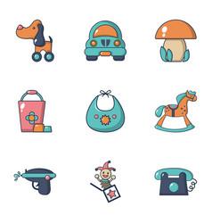 boy toys icons set flat style vector image