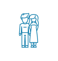 Boyfriend girlfriend linear icon concept vector