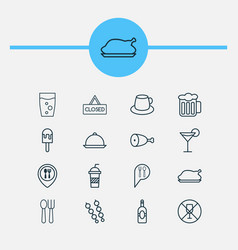 Cafe icons set collection of closed placard vector