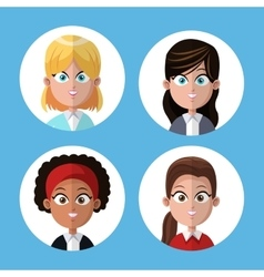 cartoon group women portrait coworkers office vector image