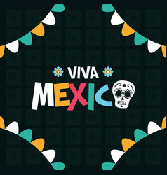 Celebration viva mexico party greeting card vector