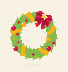 christmas wreath with bow flat vector image