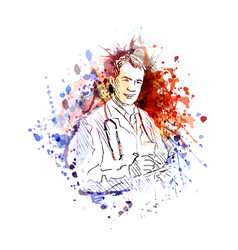 color of a doctor vector image