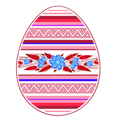 colorful happy easter egg for greeting card folk vector image