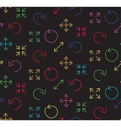 Colors arrows abstract web black seamless pattern vector image