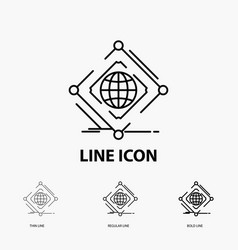 Complex global internet net web icon in thin vector