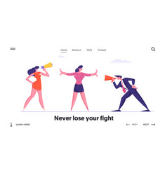 Confrontation in business website landing page vector