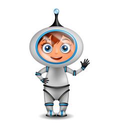 cute cartoon astronaut standing isolated vector image