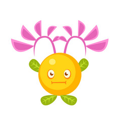 cute fantastic yellow plant character round shape vector image