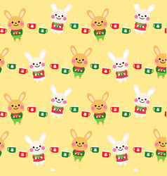 cute rabbits cartoon seamless pattern design vector image