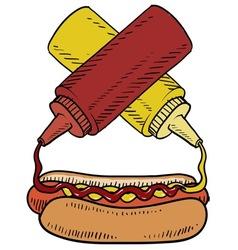 Doodle hotdog ketchup mustard vector