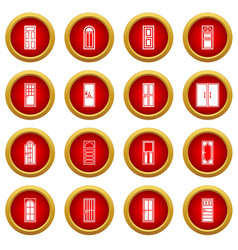 Door icon red circle set vector