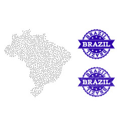 dotted map of brazil and grunge stamp composition vector image