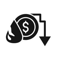 drop money downward arrow trade crisis economy vector image